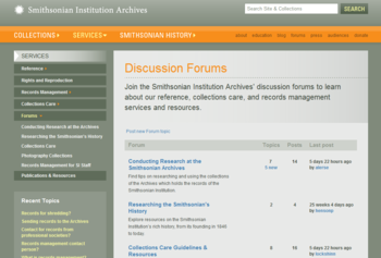 A screenshot of the Archives' new forums.