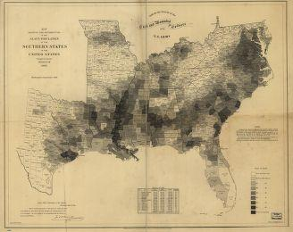 Map Showing the Distribution of the Slave Population of the Southern States of the United States Com