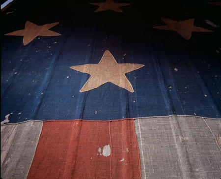 Detail view of the Star-Spangled Banner.