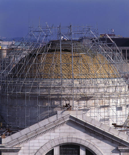 Construction scaffolding on the dome of the National Museum of Natural History.