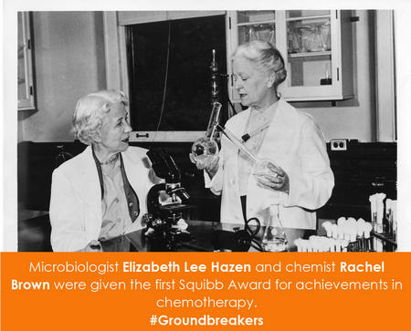 Microbiologist Elizabeth Lee Hazen and chemist Rachel Brown
