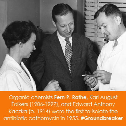 Organic chemists Fern P. Rathe and her co-scientists, Karl August Folkers (1906-
