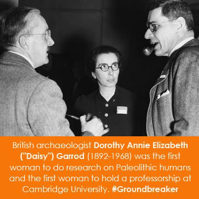 """British archeologist Dorothy Annie Elizabeth (""""Daisy"""") Garrod (1892-1968)"""