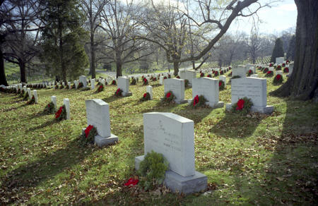 Section 31 of Arlington Cemetery decorated with holiday wreaths.