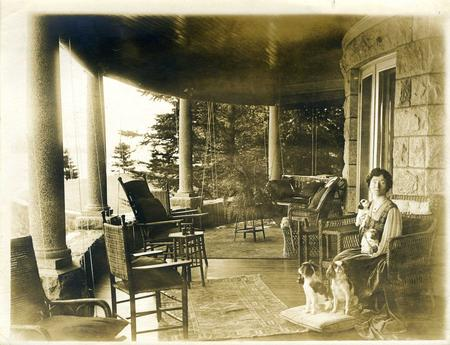 Alice Barney on porch of Ban-y-Bryn, 1912, Accession 96-153, Box 2, Image 5.56, Smithsonian Institut