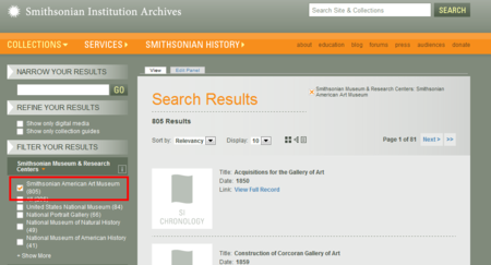 A screenshot of the Archives' Collections Search