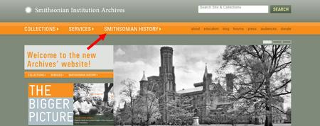 Screenshot of the Archives' new website pointing out our History Section.