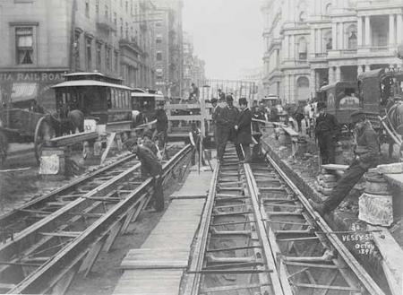 Cable car tracks on Vesey Street in New York City, October 14, 1891.