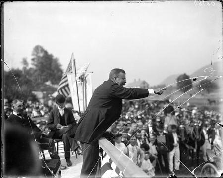 "United States President Theodore ""Teddy"" Roosevelt at a speaking engagement."