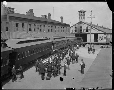 B & O railroad station at Pier 8 in Baltimore, Maryland.