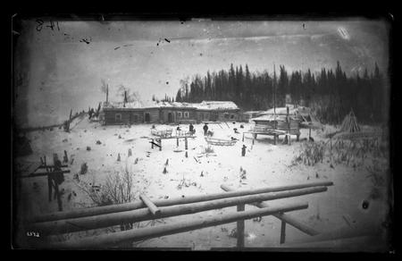 View of homestead at Anvik or Yukon River, Alaska, November 26, 1880.