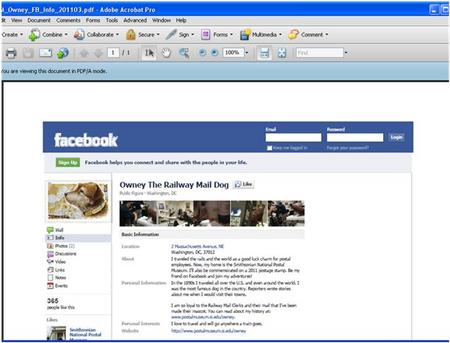 Owney the Railway Mail Dog's Facebook Info Page on March 2, 2011.