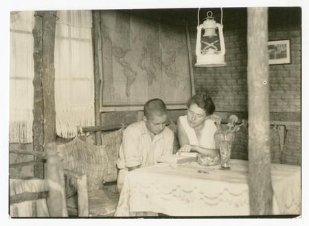 Margarete Wittmer tutors Harry at home, c 1934. Waldo Schmitt  Papers, RU 7312.