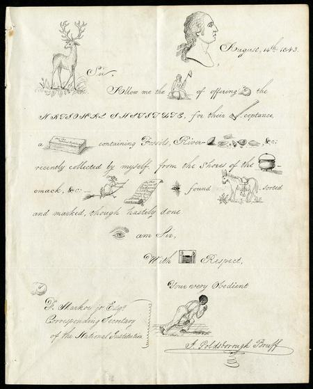 A clever and intricate Rebus letter from J. Goldsborough Bruff of Washington, DC to Francis Markoe,