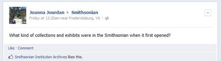 Facebook Question about Smithsonian exhibition history.