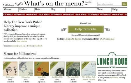 The New York Public Library's What's On the Menu? Project screenshot.