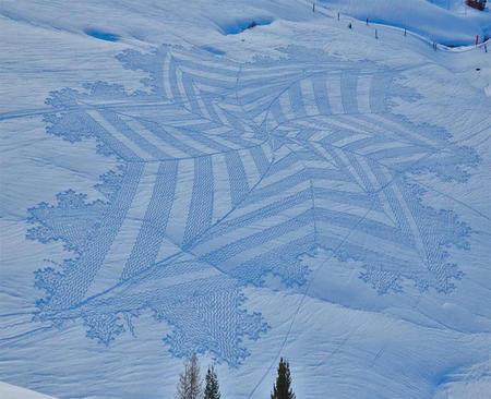 Trampled Snow Art from Simon Beck.
