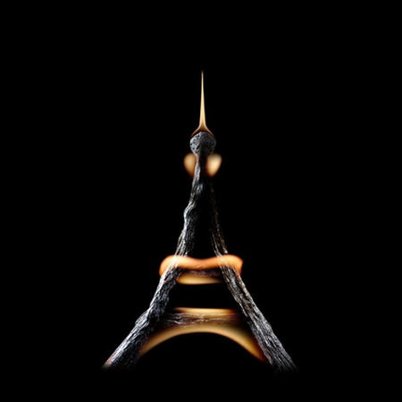 Eiffel towel made of fire and matches by photographer, Stanislav Aristov.