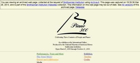 "A screenshot of the website for the ""Piano 300: Celebrating Three Centuries of People and Pianos"" ex"