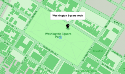 Map of Washington Square Park in green tones, designed in Mapbox by Aly DesRochers.