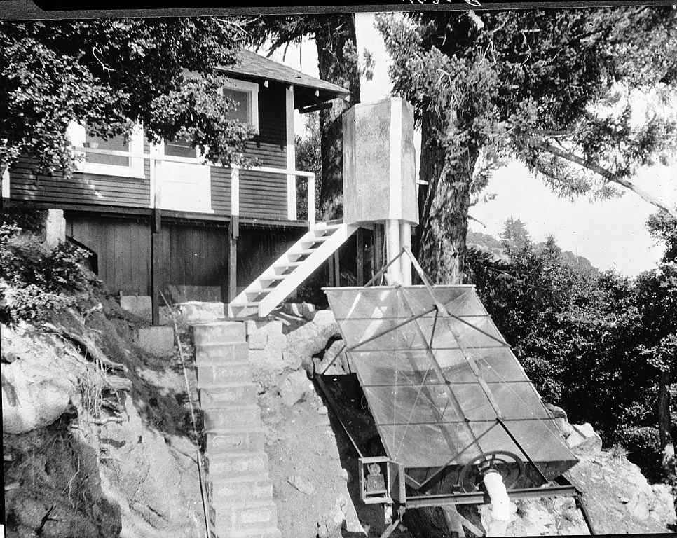 Secretary Charles G. Abbot's solar cooker at Mt. Wilson, CA, circa 1920s.