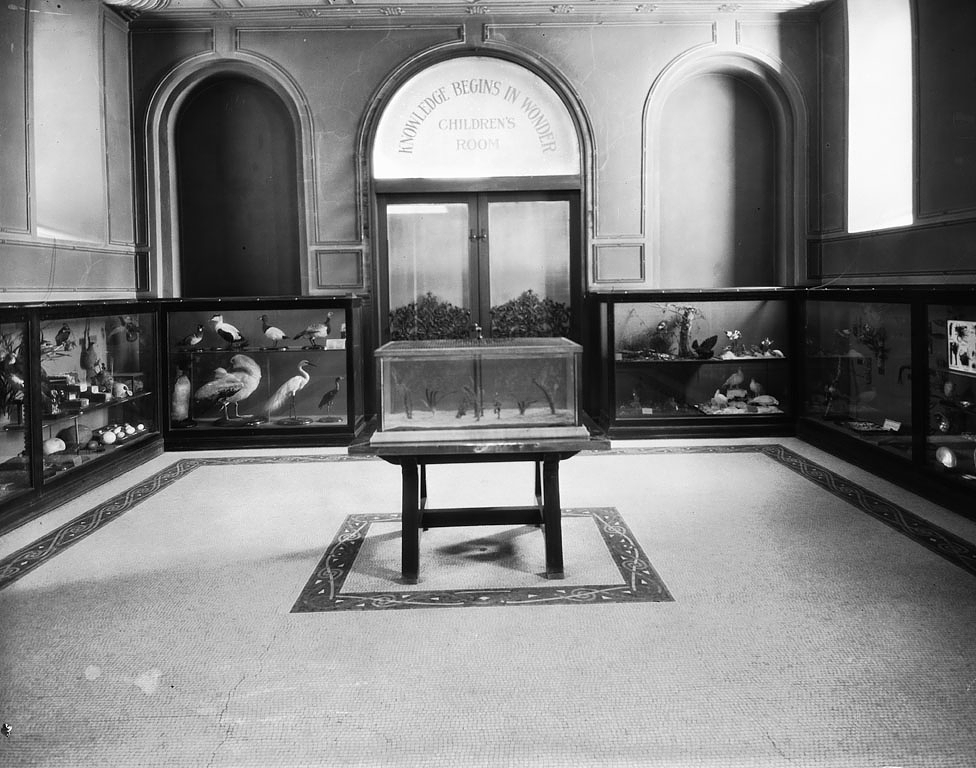 Children's Room, 1901 (with Langley's motto painted above the door). Smithsonian Institution Archive