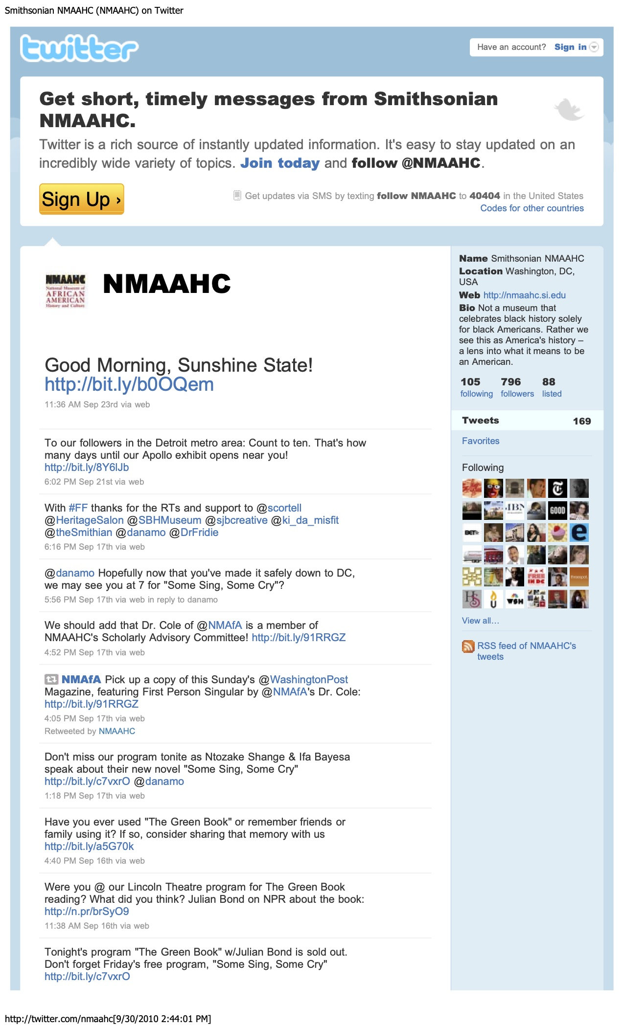 Screenshot of tweets from National Museum of African American History and Culture. The interface loo