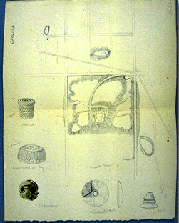 Sketch at Cholula, Mexico, overhead view, including inserts of artifacts