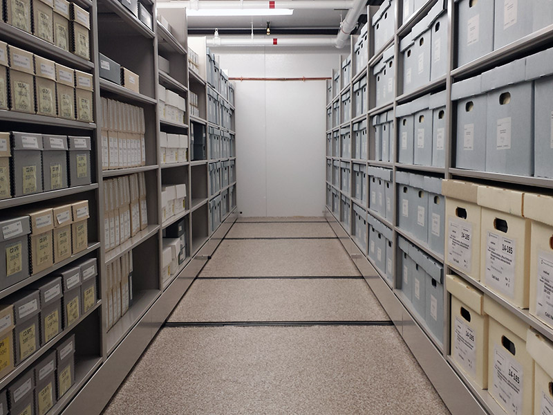 Smithsonian Institution Archives' staff explore their cold storage collections space  in the Smithso
