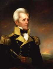 Portrait of Andrew Jackson from the waist up, wearing a blue and goal military uniform.