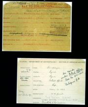 Two note-card sized documents, with handwritten text