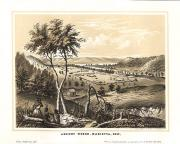 This depiction of Marietta, Ohio includes trees, a river, rolling hills, American Indianas, and dwel