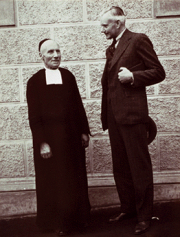 Black and white photo of two men, Brother Apolinar Maria and Alexander Wetmore
