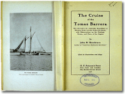 Image of opened book, with a images of a ship on one side, and a title plate and stamp on the other