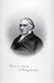 Black and white engraving of Francis Wayland sitting, with glass pushed up on his forehead
