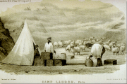 Image of a tent, three human and a heard of sheep