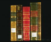 This image shows the spines of five books, in gold, brown, red and green colors