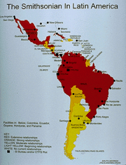 Map of Latin America and South America showing were research continues