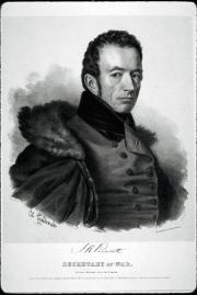 Black and white engraving of upper body and head of Joel Poinsett, sitting facing right, wearing coa