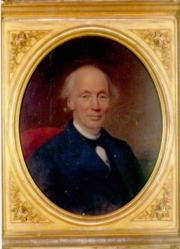 Colored painting of a balding Robert Dale Owen, sitting, in a dark colored suit