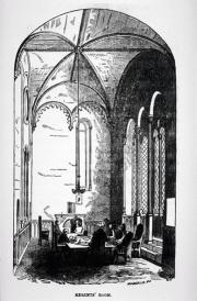 Black and white woodcut of the domed Regents' Room at the Smithsonian Building