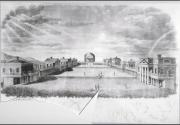Drawing of the main lawn at the University of Virginia, looking toward the The Rotunda, buildings li