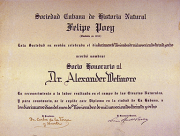 Honorary Membership Certificate belonging to Wetmore