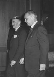Frank Taylor and President Lyndon Baines Johnson at the opening of the Museum of History and Technol
