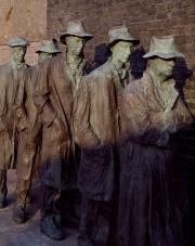 Sculpture by George Segal depicting a Great Depression breadline.