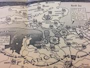 "Detail of map - ""Embattled World Starts Fourth Year of War With Turning Point Still Lying Ahead"" art"