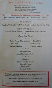 Menu for the bush-style roast young hippopotamus luncheon held by the Anteaters Association on Novem
