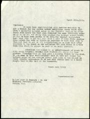 Letter from Mr. J. Bundy, Superintendant of the Freer Gallery of Art, to the Chemical Products Divis