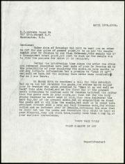 Letter from Mr. J. Bundy, Superintendant of the Freer Gallery of Art, to the R.P. Andrews Paper Comp