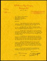 Letter from the R.P. Andrews Paper Company to Mr. J. Bundy, Superintendant of the Freer Gallery of A